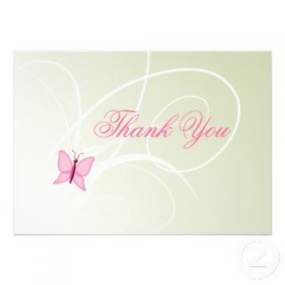 trendy pink butterfly Baby shower Thank You notes Card