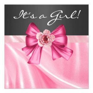 Pink Black Baby Girl Shower Personalized Invie