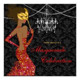 Sparkling Red Black Masquerade Diva Invitation
