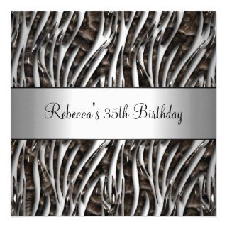 Birthday Party 35th Black White Silver Animal Custom Announcements