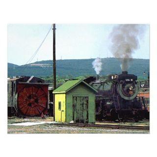 Steam Locomotive 3254 Coming into Train Yard Invite