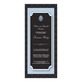 Elegant Damask Dinner Party Invitation (blue)