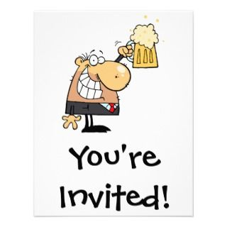 man cartoon celebrating with beer custom invitations