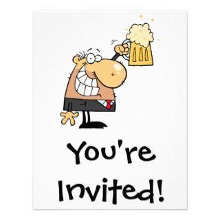 man cartoon celebrating with beer custom invitations