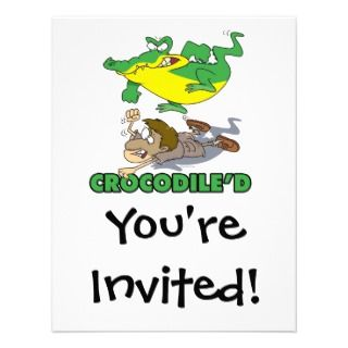 crocodile stomping on hunter cartoon invitation