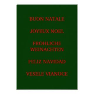 MERRY CHRISTMAS IN 5 LANGUAGES INVITATIOn