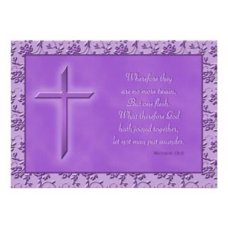 invitation has purple crosses on it along with the bible verse matthew