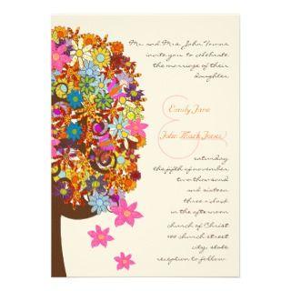 Multi Colored Flower Love Tree Wedding Invitation