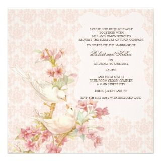 Vintage Romantic Birds in Love Wedding Custom Invite