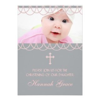 girl christening invitations pink gray baby girl baptism invitations