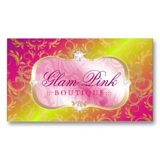 Lavish Pink Platter  Golden Divine Rose Stem Business Card Templates