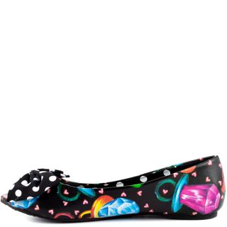 Iron Fists Multi Color Ring Pop Peep toe Flat   Black for 49.99
