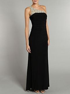 JS Collections Jersey one shoulder beaded dress Black
