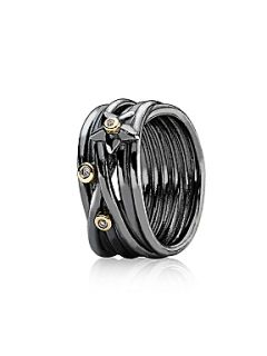Pandora Oxidised Sterling Silver, 14ct Gold Diamond Ring White
