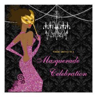 Sparkling Pink Black Masquerade Diva Invitation