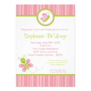5x7 Spring Bugs Insects Birthday Party Invitation