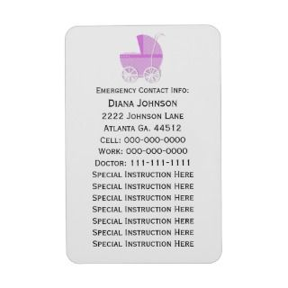 Emergency Contact Magnet Pink Baby Carriage