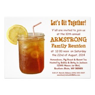 Funny Southern Family Reunion Sweet Tea Custom Announcement
