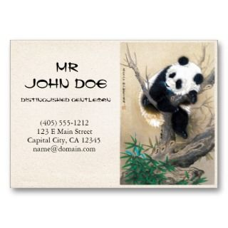 cute sweet fluffy panda bear tree art business card