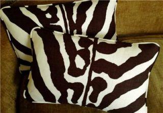 Scalamandre Custom Designer Throw Pillows Linen Fabric Zebra New Set 2