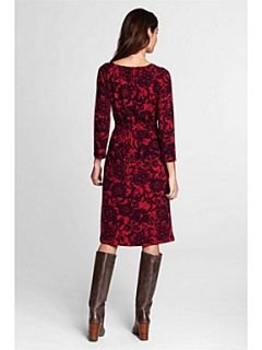 Lands End Women`s floral print crepe jersey wrap dress Red