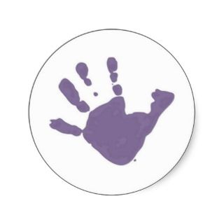 have kids, will blog hand print logo round stickers