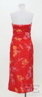 Kay Unger Red Orange Floral Tulle Strapless Dress Size 10