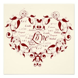 Love in Any Language in Red Wedding Invitation