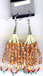 Navajo Cedar Bead Earrings 01 Native American Jewelry