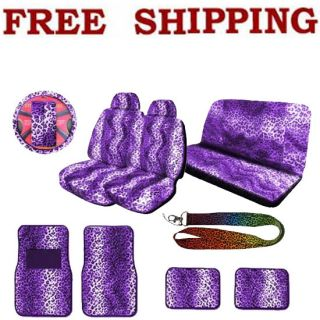 Full Set Purple Leopard Print Seat Covers Floor Mat Steering Wheel