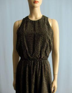Kay Unger Long Silk Dress Black Beige Print High Neck 6 1949