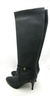 JCrew $368 Keegan Leather High Heel Buckle Boots 9 5 Black Shoes