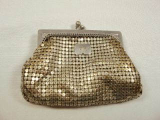 Vintage, coin purse, Whiting & Davis, marked inside, silver tone metal