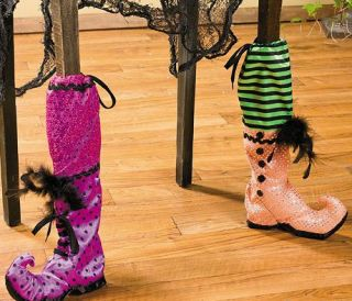 Witchs Boot Chair Leg Covers Halloween Decor Table Feather Accents