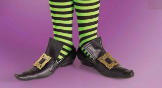 Gold Buckle Witch Shoe Covers for Child Halloween Costume Boys Girls