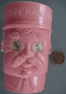 Captain Kangaroo plastic figural 3 D eyes drinking cup Bob Keeshan