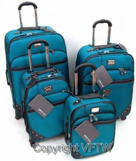 Kenneth Cole Reaction Curve Appeal II 4 Piece Luggage Set Aqua New