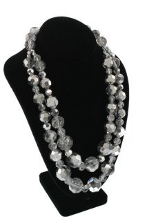 Kenneth Jay Lane New Silver Crystal Beads Double Strand Necklace