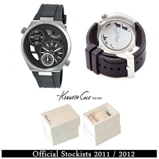 Gents Mens Kenneth Cole KC1683 Black Dual Time Watch RRP £115 00