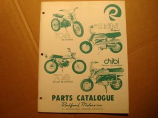 Rockford Mini Bike Motorcycle Parts Catalog Manual