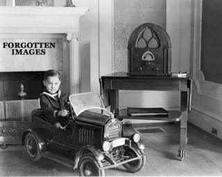 Little Boy Pedal Car Atwater Kent Radio 1930s Photo