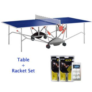 Kettler Match 5 0 Indoor Table Tennis Table and GTX 75 Racket Set