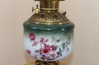Vintage Hand Painted Flowers GWTW Oil Kerosene Globe Lamp