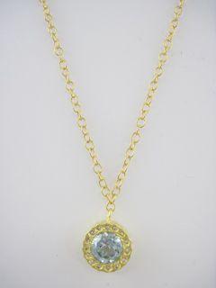 Kevia 22kt Gold Vermeil Blue Topaz CZ Necklace