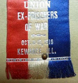 Civil War Veteran Union of EX Prisoners of War Badge 1916