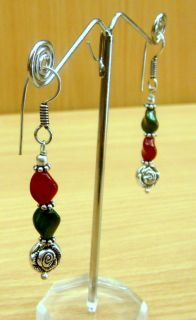 Indian Womans Girls Fashion Design Red and Green Metal Earrings