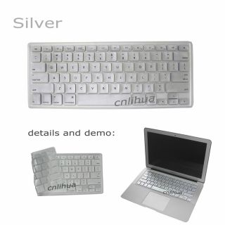 Silver Soft Keyboard Skin Protector Cover for MacBook Air Pro 13 15