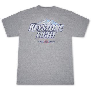 Keystone Light Always Smooth Distressed Grey Graphic T Shirt