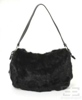 Kenneth Cole Black Leather Rabbit Fur Handbag