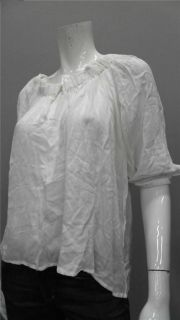 Moda Ladies Womens s Casual Poet Top Keyhole White Solid Shirt